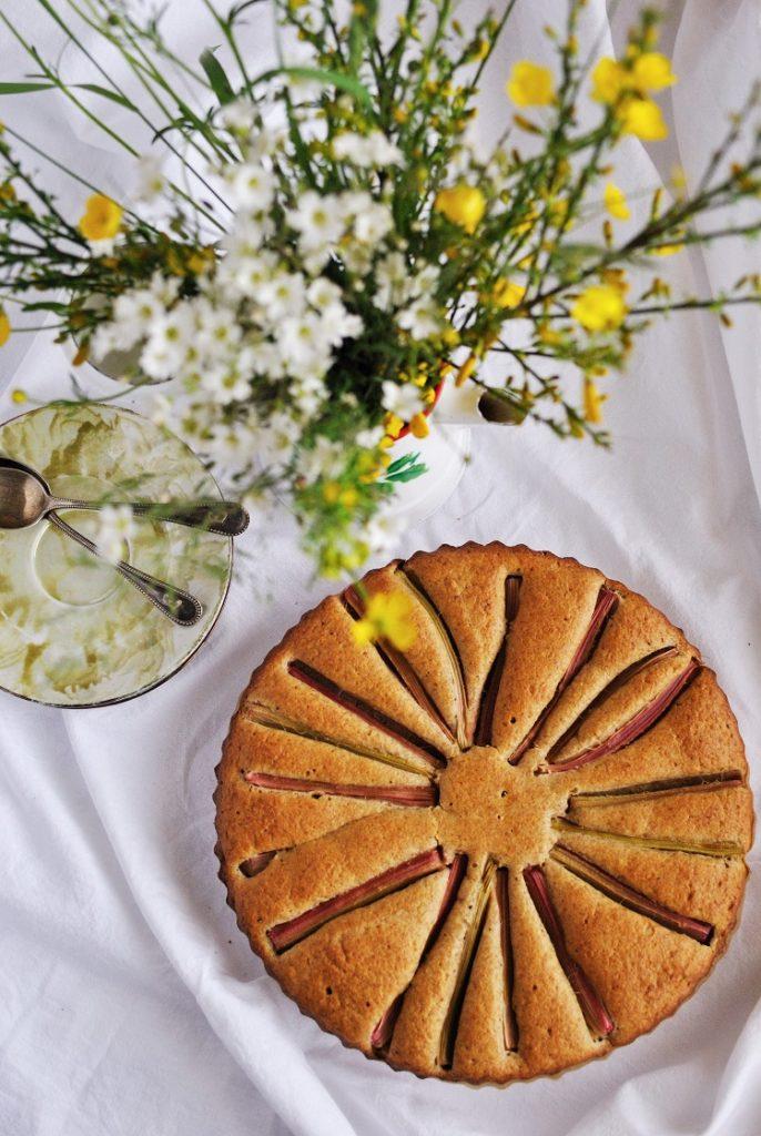 ciasto orkiszowe z rabarbarem
