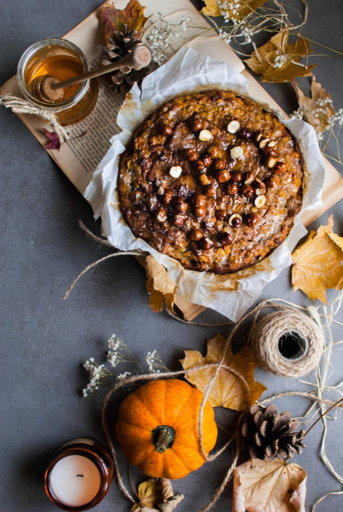 Fit ciasto dyniowe z lukrem herbacianym i orzechami w miodzie